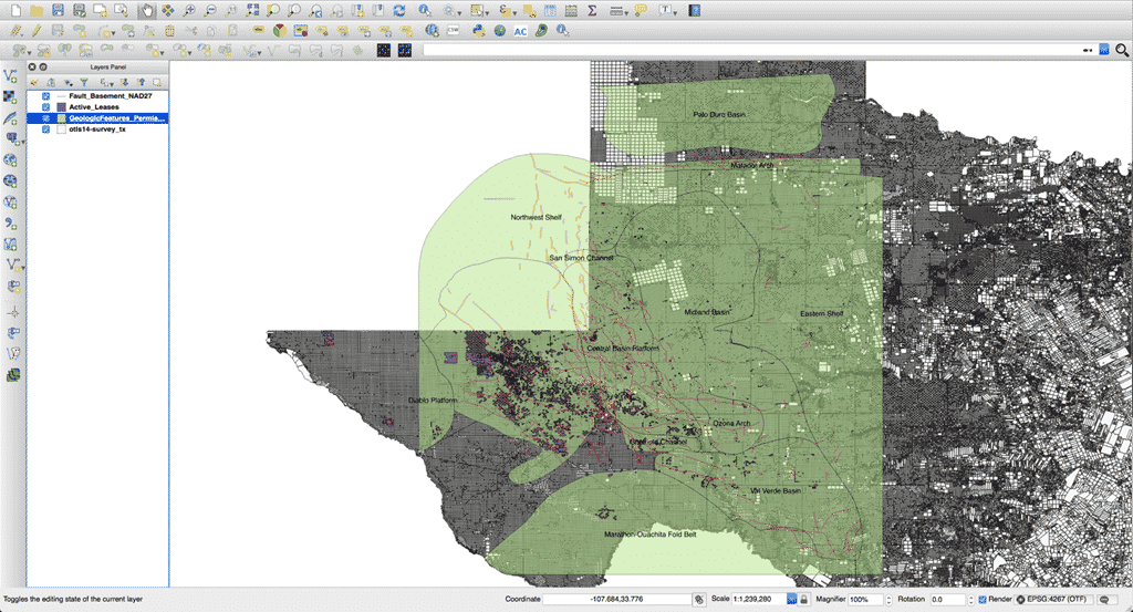 Case study using shapefiles in welldatabase next generation oil qgis mapping service with the glo active leases purple polygons fault basement red lines geologic features permian basin green transparent polygons gumiabroncs Gallery